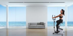 Sea view living room interior in modern beach house - 3D renderi